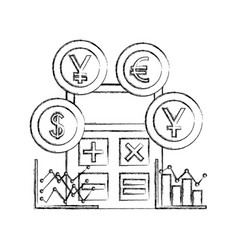 international currencies with calculator and vector image