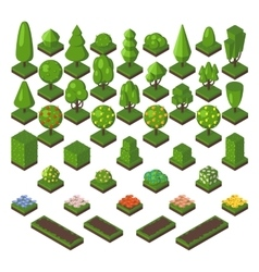 Isometric tree set green forest nature vector