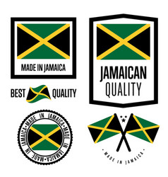 Jamaica quality label set for goods vector