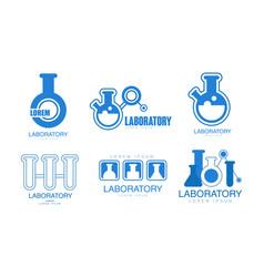laboratory logos collection medicine vector image