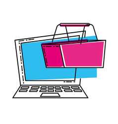 laptop computer with basket shopping vector image