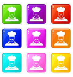 male chef cook set 9 vector image