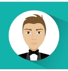 Man cartoon inside circle design vector image