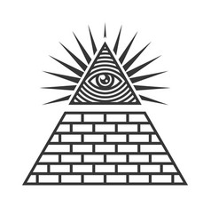 Masonic illuminati symbols eye in triangle sign vector