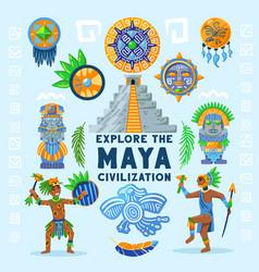 Maya civilization background flowchart vector