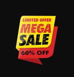 mega sale banner offer grunge vector image