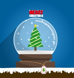 Merry Christmas tree in snow globe vector