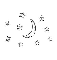 Moon and stars nursery art minimalist vector
