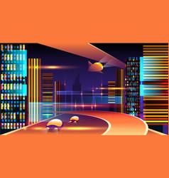 neon futuristic cityscape vector image