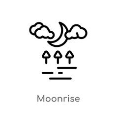 Outline moonrise icon isolated black simple line vector