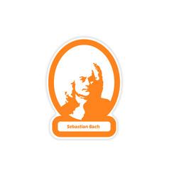 Paper sticker on white background Sebastian Bach vector
