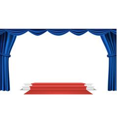 podium under blue theater curtain ceremony vector image