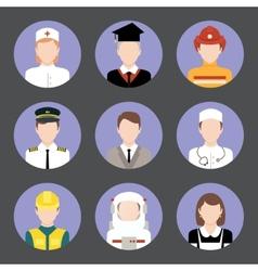 Professions avatar flat icons set vector