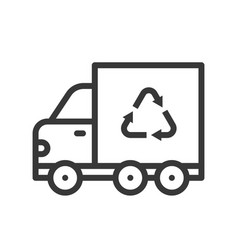 recycle sign on garbage truck icon vector image