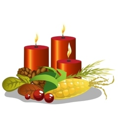 Red cylindrical candles with symbols harvest vector