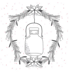 Rustic glass jar with leaves hand drawn vector