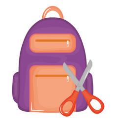 scissor school with schoolbag supplies vector image