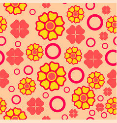 seamless geometric pattern red with yellow vector image