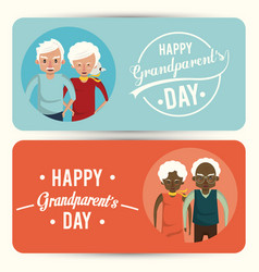Set happy grandparents day card with cartoons vector