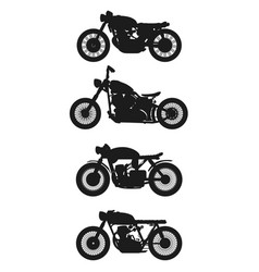 set of 4 vintage motorcycles graphics vector image