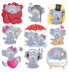 Set of cute cartoon elephants vector
