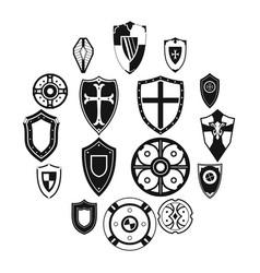 shields set icons vector image