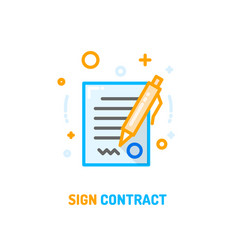 signed contract icon vector image