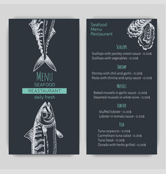 sketch - logo seafood card vector image