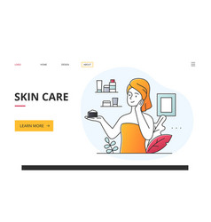 Skin care and beauty concept with woman using vector