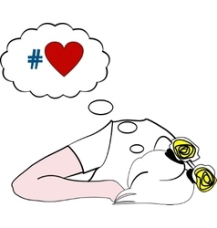 Sleeping girl dreaming about love vector