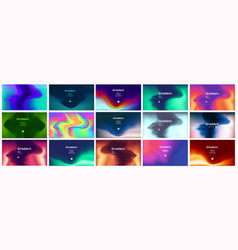 Smooth abstract colorful gradient backgrounds set vector