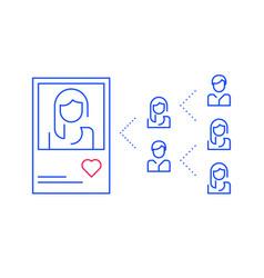 Social media influence popular person profile vector