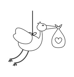 stork with baby bag in black and white vector image