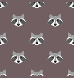 stylized head raccoon seamless pattern vector image