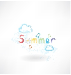 Summer music grunge icon vector image
