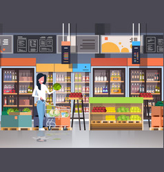 supermarket woman customer with shopping trolley vector image
