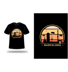 T-shirt barcelona color orange and yellow vector