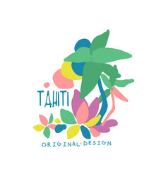 Tahiti island logo template original design vector