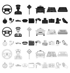 taxi service cartoon icons in set collection for vector image