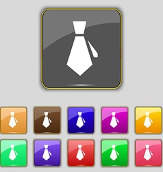 tie icon sign Set with eleven colored buttons for vector image