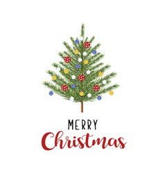 tree with toys merry christmas card vector image