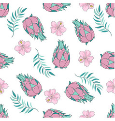 Tropical fruit tropical travel seamless pattern vector