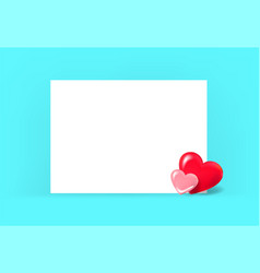 two red hearts on a blue background design vector image