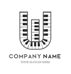 w letter logo design piano keyboard logo vector image