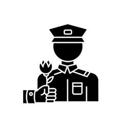 War veterans charity black glyph icon vector