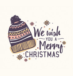 we wish you a merry christmas lettering written vector image
