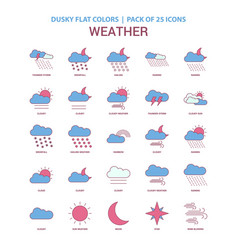 weather icon dusky flat color - vintage 25 icon vector image