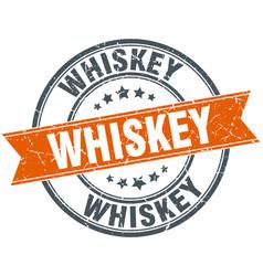 Whiskey round orange grungy vintage isolated stamp vector