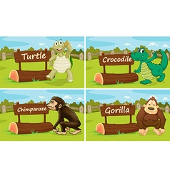 Wild animals standing by the sign vector