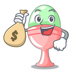 With money bag boiled egg cup isolated on mascot vector